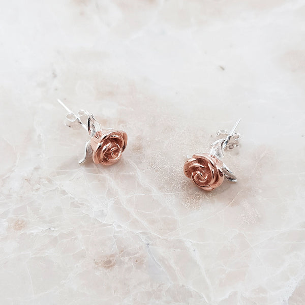 Rose Flower Stud Sterling Silver Earrings
