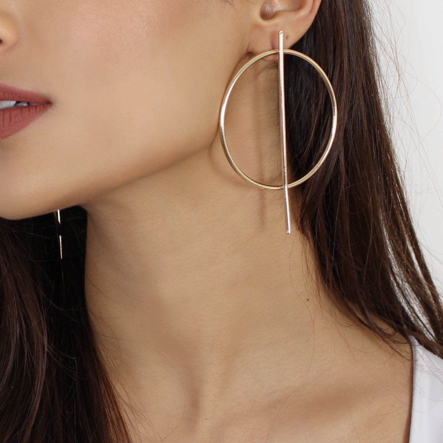 Geometric Hoop Earrings Gold