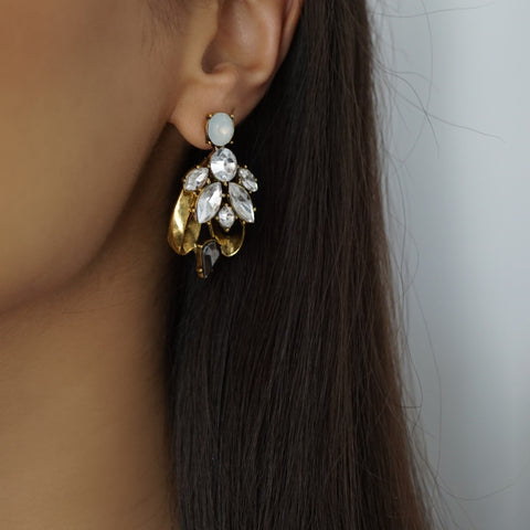 Gold Rhinestone Crystal Statement Earrings