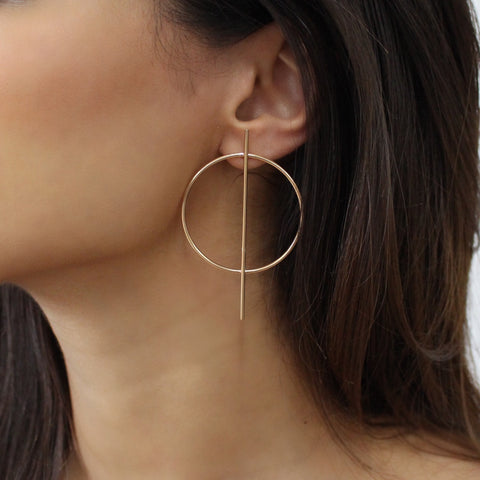 Small Gold Geometric Hoop Earring
