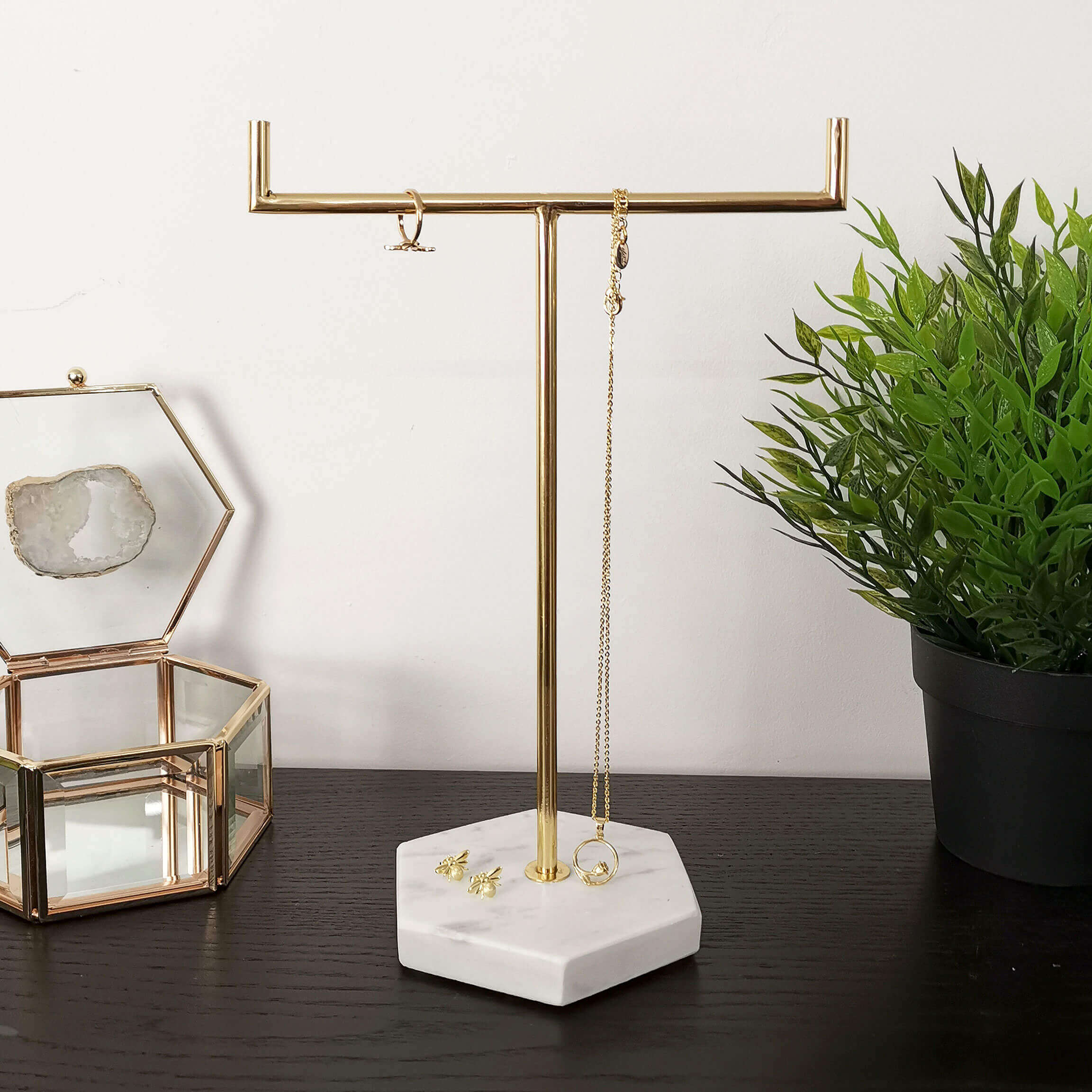 marble jewellery stand gold rose gold silver tree stand jewellery storage