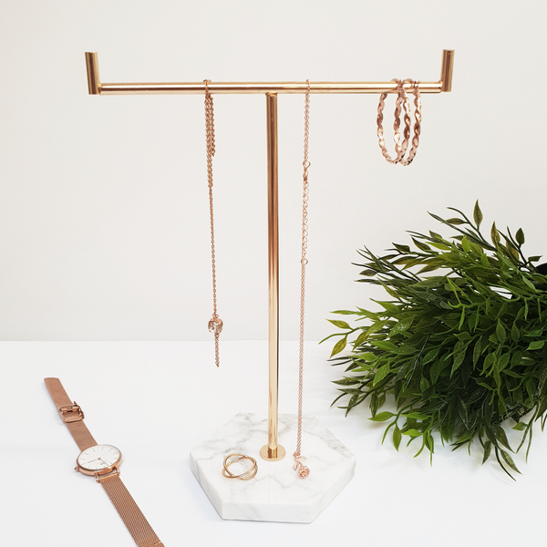 Solid Marble Gold Jewellery Tree Stand