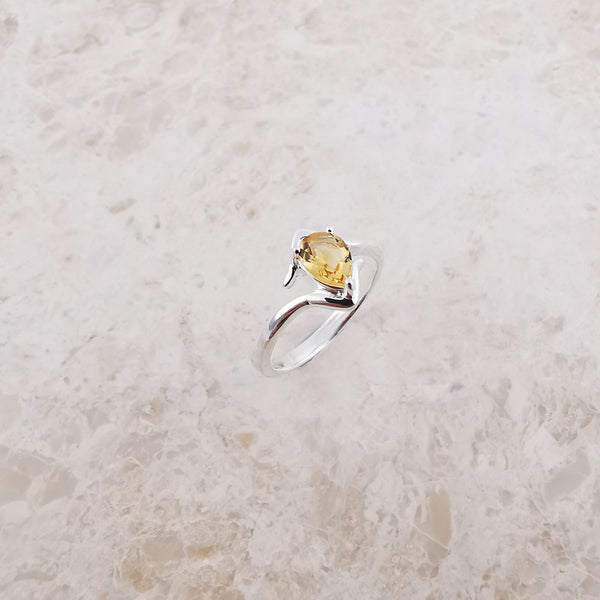 Amber Sterling Silver Citrine Ring