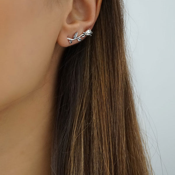 Sterling Silver Rose Ear Climber Earrings