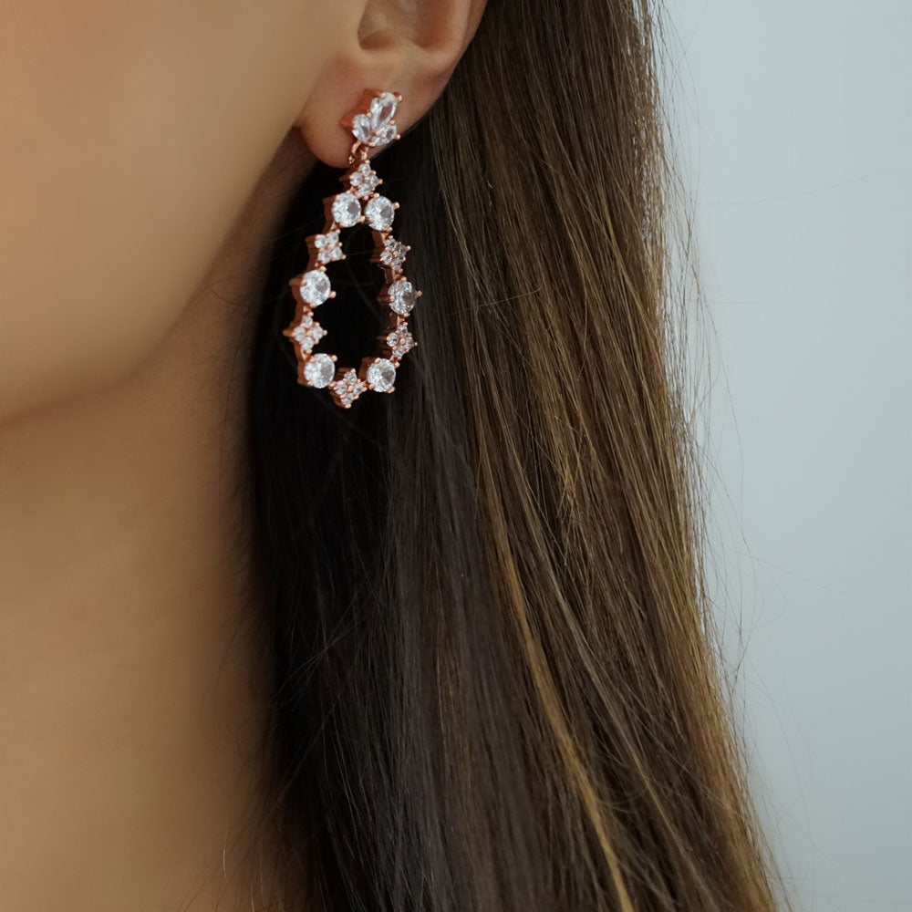 verona rose gold dangly earrings rose gold silver rhinestones wedding event party gift for her - Nikita By Niki