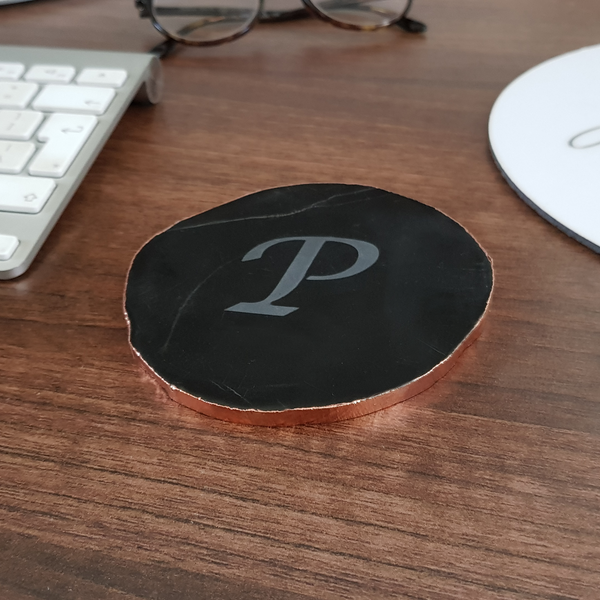 Personalised Monogram Initial Black Agate Coaster