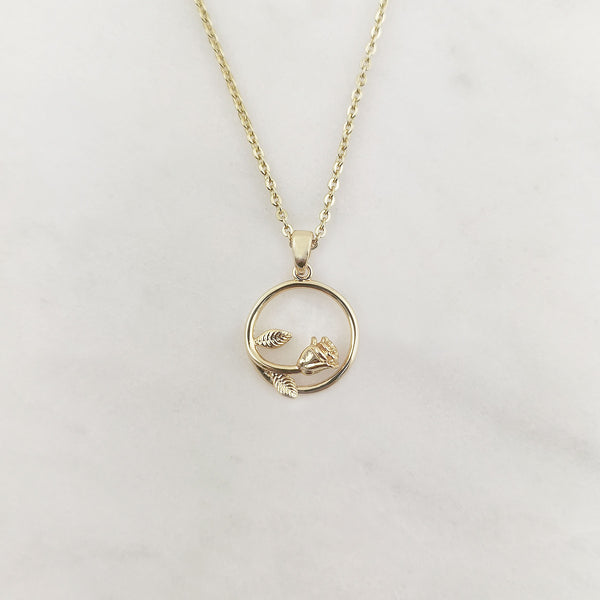 Circle Rose Necklace