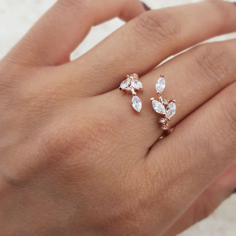 Our adjustable rhinestone encrusted ROSA ring with a quality rose gold plated base and leaf design.