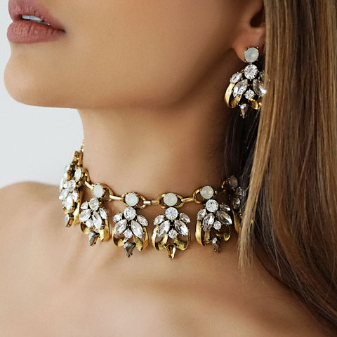 Our LEILANI statement earring and choker set are bold pieces that will dress up any evening outfit.