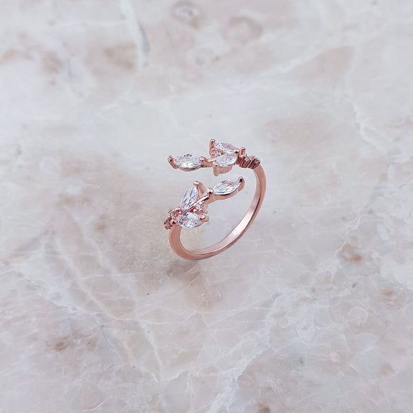 ROSA Rose Gold Rhinestone Ring