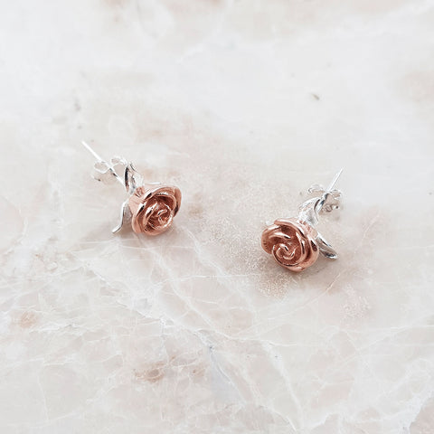 rose gold sterling silver rose flower stud earrings studs for women
