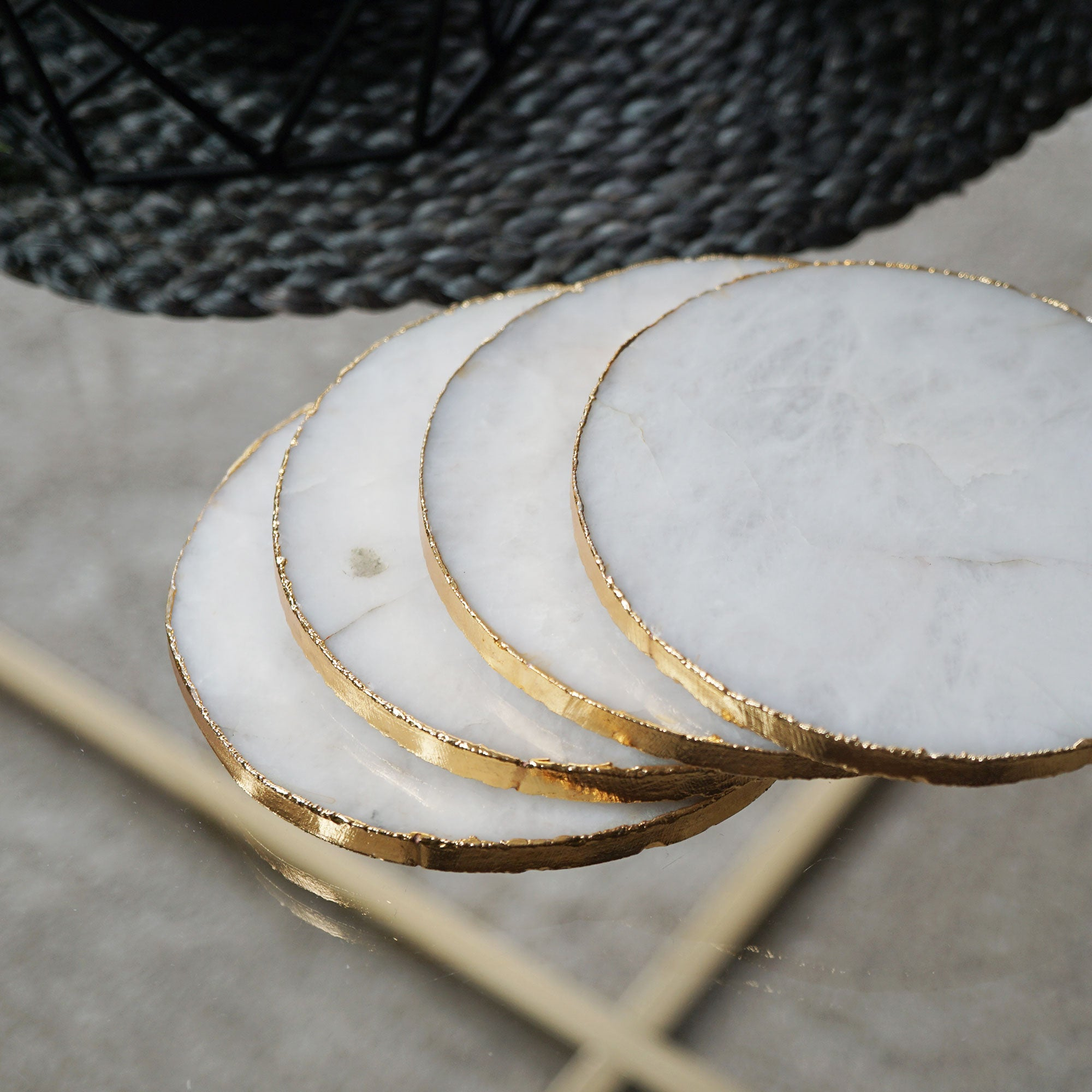 white quartz marble crystal agate coaster Nikita by Niki