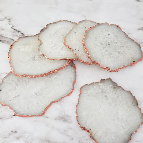 White Crystal Agate Gilded Coasters