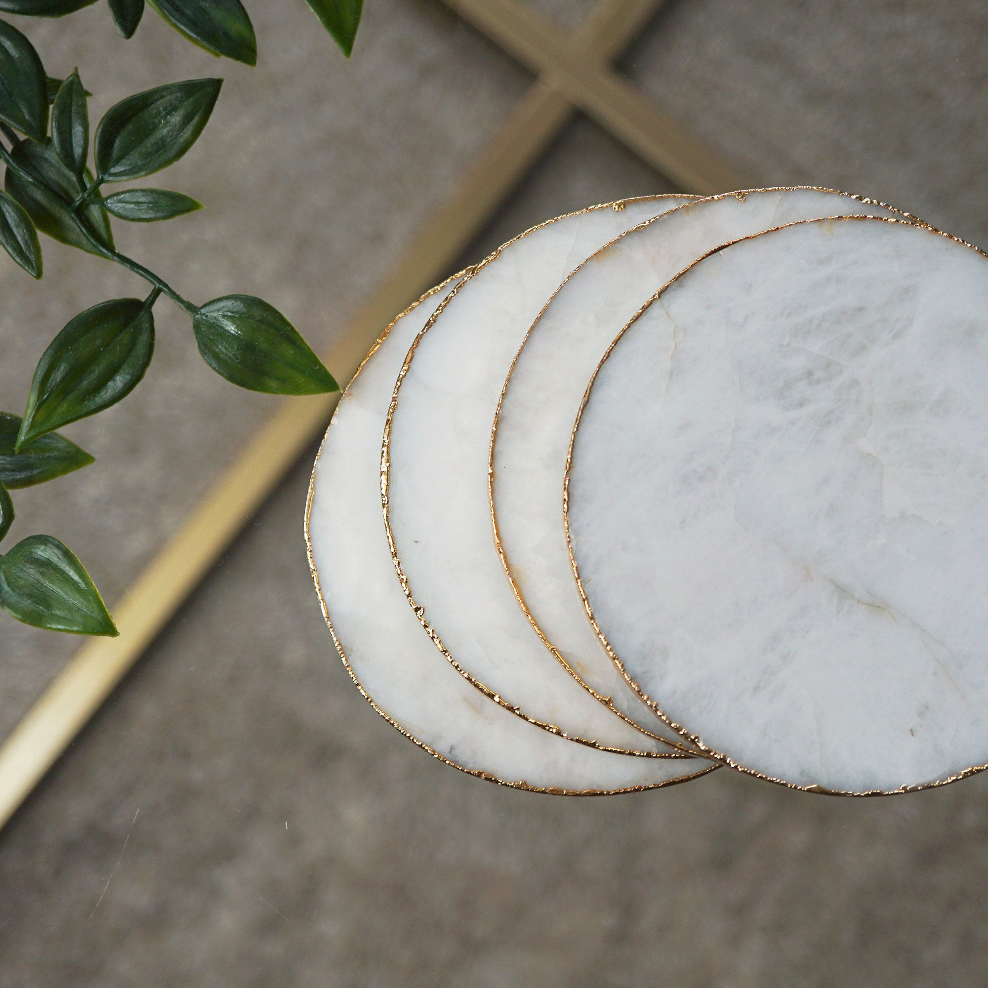 White Quartz Marble Crystal Agate Coasters