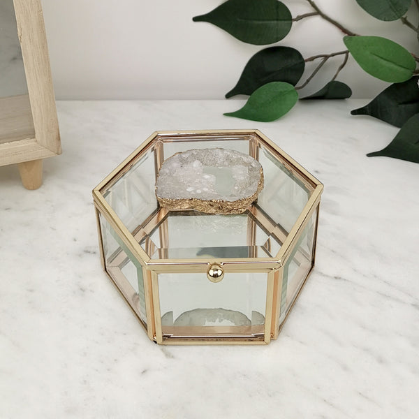Gold Agate Glass Jewellery Box