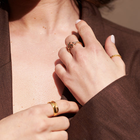 Quality, gold statement rings layered together to create an on-trend beautiful look.
