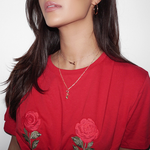 Dainty Rose Flower Pendant Necklace