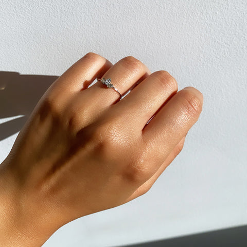 Our sanza triple clear rhinestone silver ring available in three sizes to fit any finger.