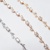 rose gold silver gold rose flower chain choker beautiful unique gift for her dainty wedding bridesmaids special occasion  delicate rhinestone diamante crystal choker bridal floral necklace