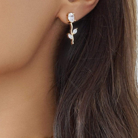 OUR VALENTINA rose gold, gold or silver statement earrings, with an 18k gold plated rose flower pendant. Compliments our VALENTINA choker or statement necklace.