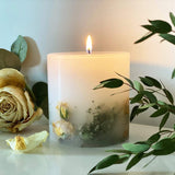 Our rose botanical scented pillar candle, featuring a natural rose small with rich geranium blooms. Its floral scented wax will fill your room and create the uptime winter evening.