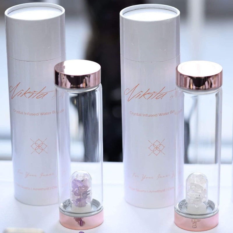 Crystal infused glass water bottles by Nikita By Niki