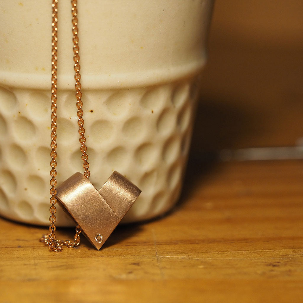 Diamond Rose Gold Necklace | From the Heart