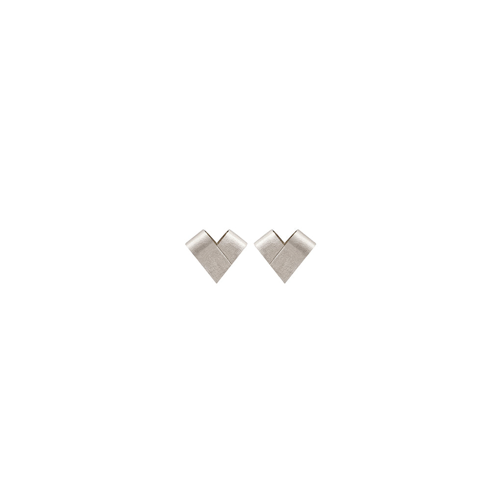 Mini White Gold Studs | From the Heart