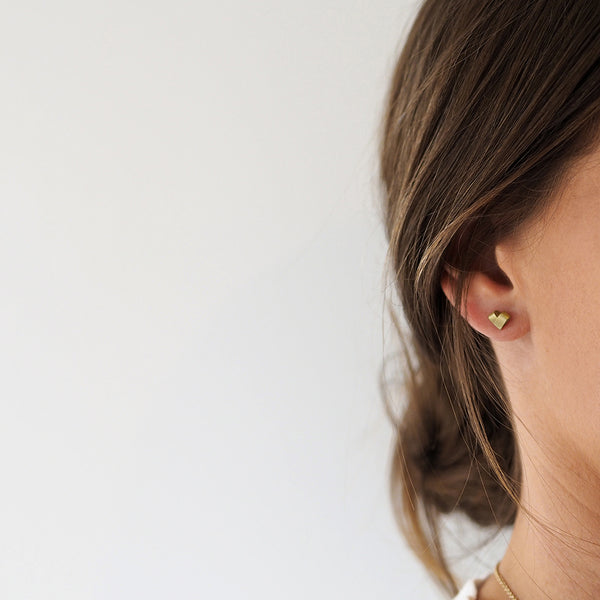 Mini Yellow Gold Studs | From the Heart