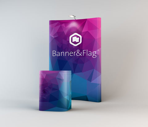 Pop-Up Curved Banner System and Desk Bundle