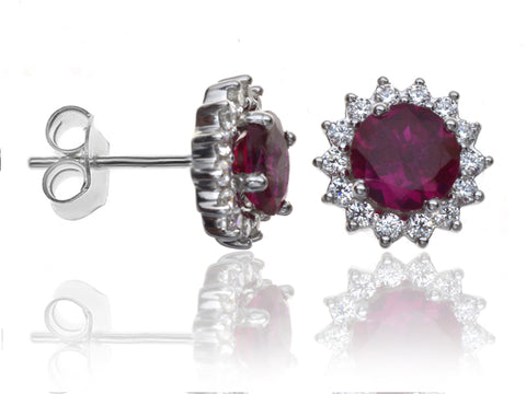 Diamond & Ruby Cluster Earrings