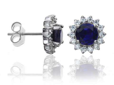 Diamond & Sapphire Cluster Earrings