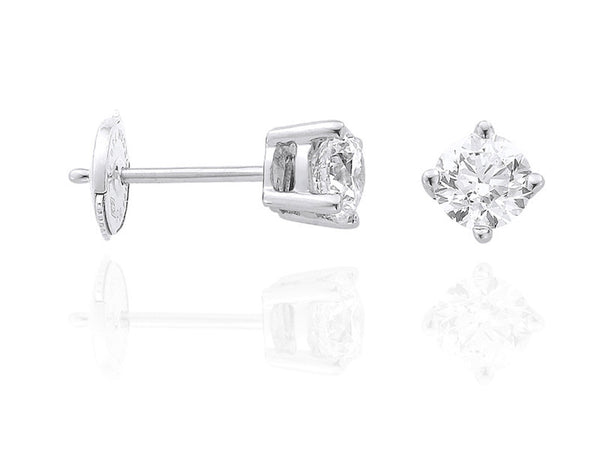 Diamond Earrings 0.5 Carat Round Diamond H Color VS1 Clarity