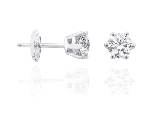 Diamond Earrings 0.50 Carat Round Diamond E Color VS2 Clarity