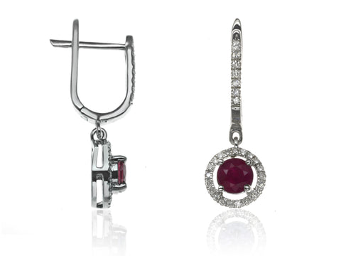 Diamond & Ruby Halo Drop Earrings