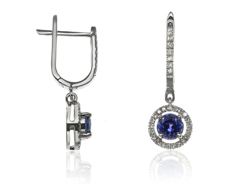 Diamond & Sapphire Halo Drop Earrings
