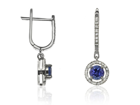 Diamond & Tanzanite Halo Drop Earrings