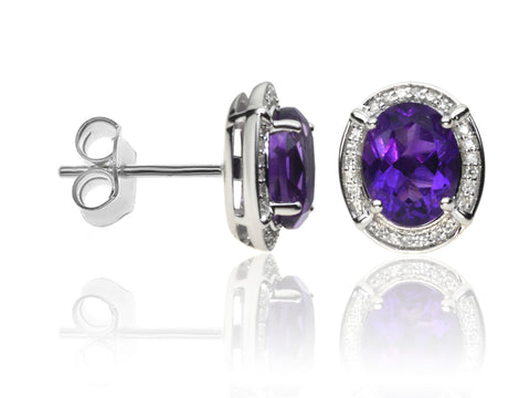 Diamond & Amethyst Cluster Earrings