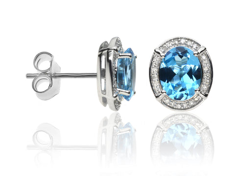 Diamond & Blue Topaz Cluster Earrings