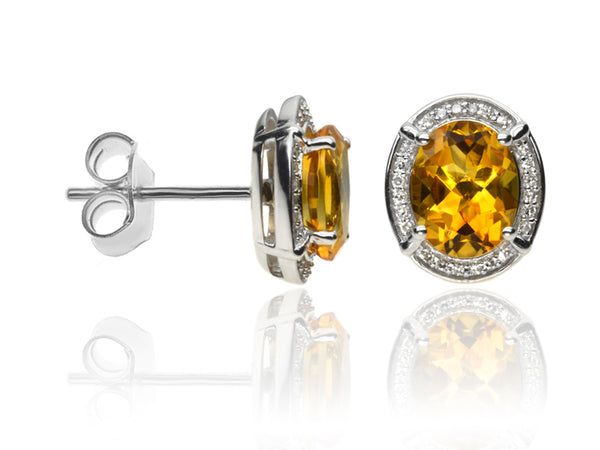 Diamond & Citrine Cluster Earrings