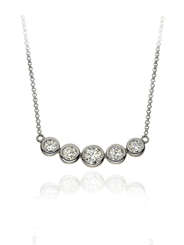 Diamond Five Stone Bubble Necklace