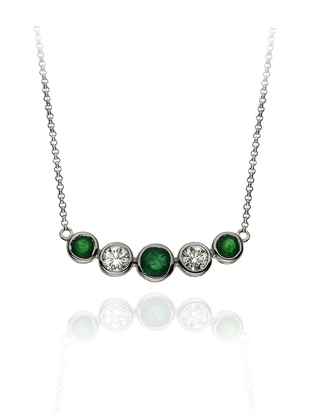 Diamond & Emerald Five Stone Bubble Necklace