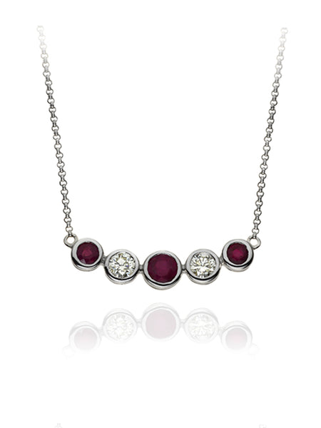 Diamond & Ruby Five Stone Bubble Necklace