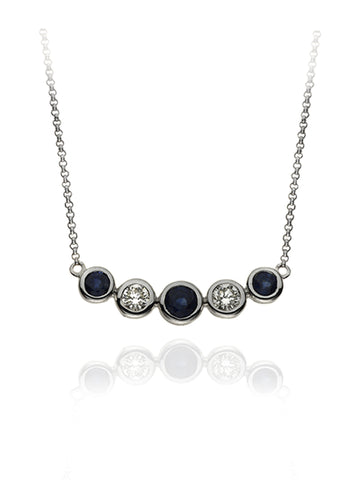Diamond & Sapphire Five Stone Bubble Necklace