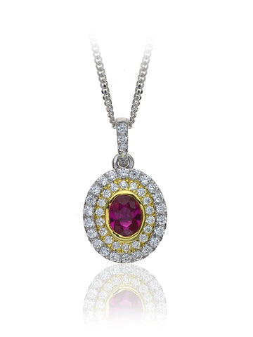 Diamond & Ruby Cluster Pendant