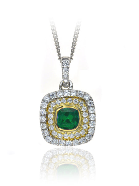 Diamond & Emerald Cluster Pendant