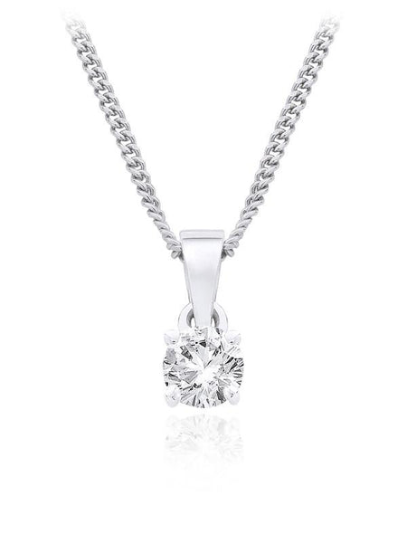 Diamond Pendant 0.25 Carat Round Diamond F Color SI2 Clarity IGI Certificate