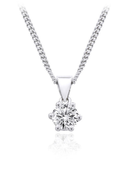 Diamond Pendant 0.33 Carat Round Diamond J Color SI2 Clarity