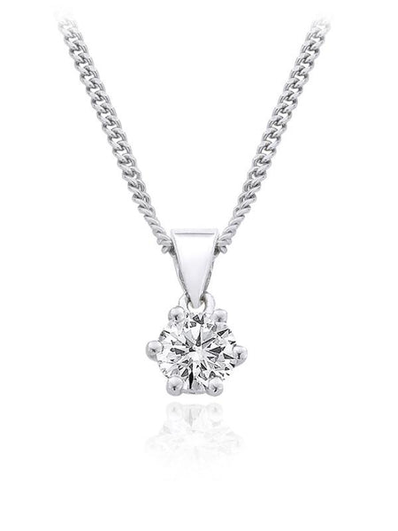 Diamond Pendant 0.25 Carat Round Diamond H Color VS1 Clarity GIA Certificate