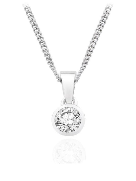 Diamond Pendant 0.33 Carat Round Diamond H Color SI2 Clarity GIA Certificate